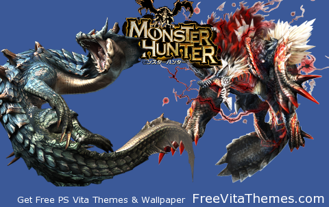 Transparent/Dynamic|Monster Hunter Lagiacrus & Jinouga (sub) PS Vita Wallpaper