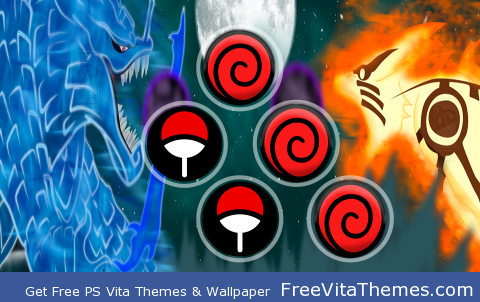 madara susano'o vs naruto & kurama PS Vita Wallpaper