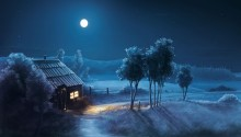 Download Blue Night Full Moon PS Vita Wallpaper