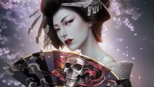 Download Japanese Geisha With Skull Art Fan PS Vita Wallpaper