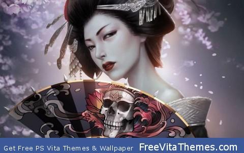 Japanese Geisha With Skull Art Fan PS Vita Wallpaper
