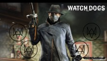 Download Watch_Dogs Aiden Pearce holding a tommy gun PS Vita Wallpaper